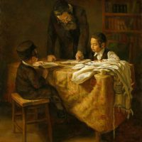 Rabbi-teaching-the-boys-Boris-Dubrov.jpg